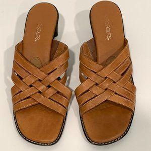 Aerosoles Slip On Sandals Slides Block Heels 9.5B